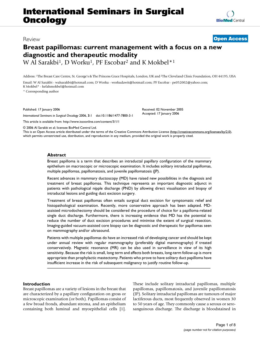 intraductal papilloma holistic treatment human papilloma virus pubmed