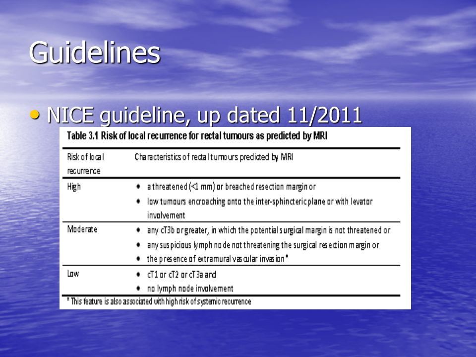 rectal cancer nice guidelines risques du vaccin papillomavirus